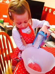 Mini KAT mixing the cornflour and conditioner together
