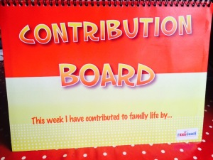 The Contribution Board standing up on my dining room table.