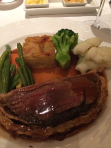 Main Course of Beef Wellington cooked Medium Rare