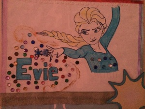 My daughters name on her bedroom door featuring Elsa and created by yours truly.