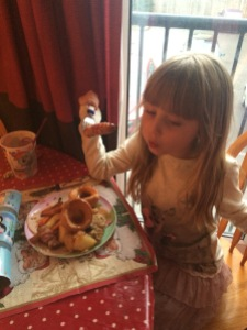 Evie enjoying her lunch